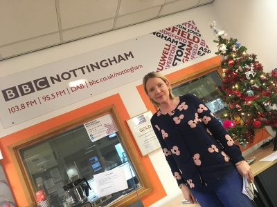Janine Brook at BBC Radio Nottingham studios
